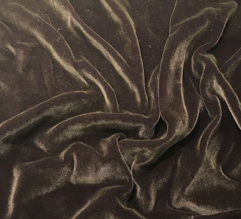 Antique Gold on Plum Wine - Hand Painted Silk Velvet Fabric