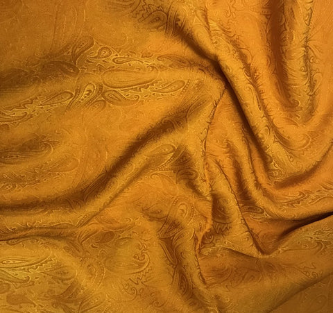 Poppy Orange Paisley - Hand Dyed Silk Jacquard