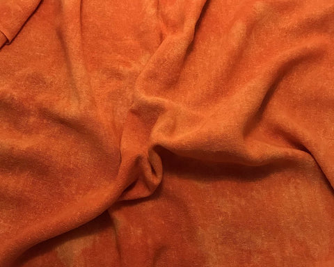 Pumpkin Orange - Hand Dyed Poplin Gauze Silk Noil