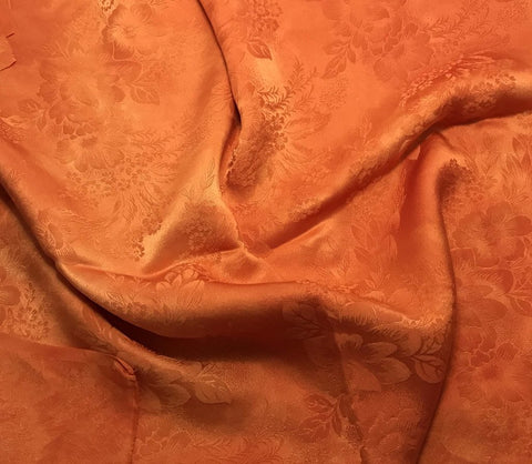 Pumpkin Orange Floral - Hand Dyed Silk Jacquard