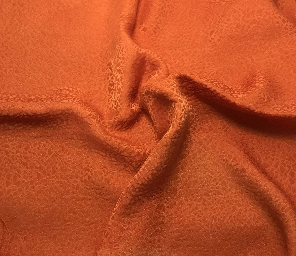Pumpkin Orange Pebbles - Hand Dyed Silk Jacquard