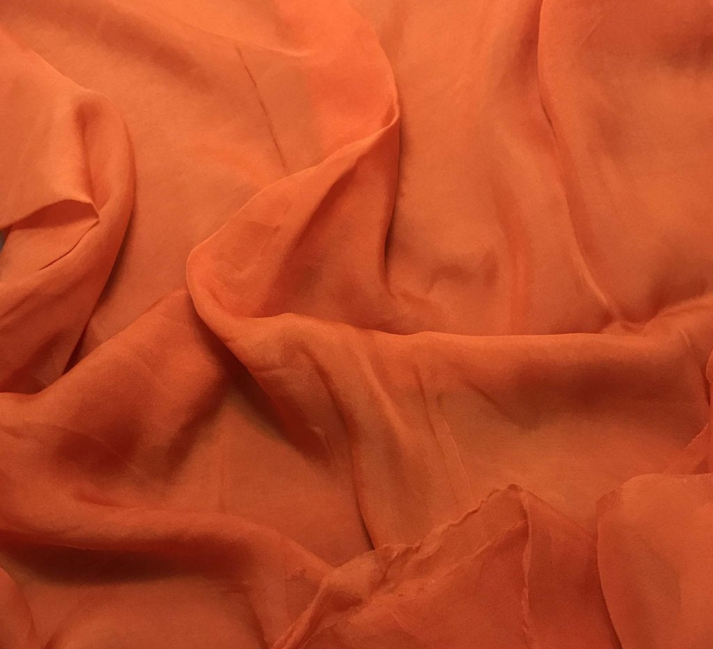 Pumpkin Orange - Hand Dyed Soft Silk Organza