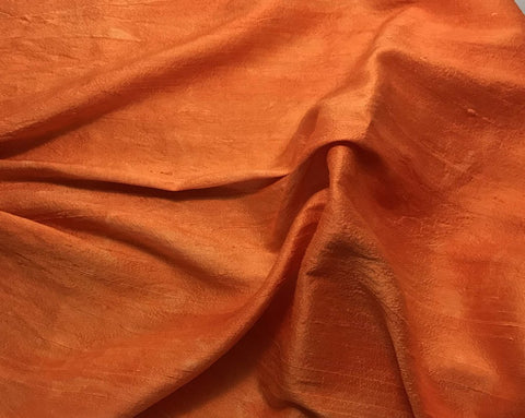Pumpkin Orange - Hand Dyed Silk Dupioni