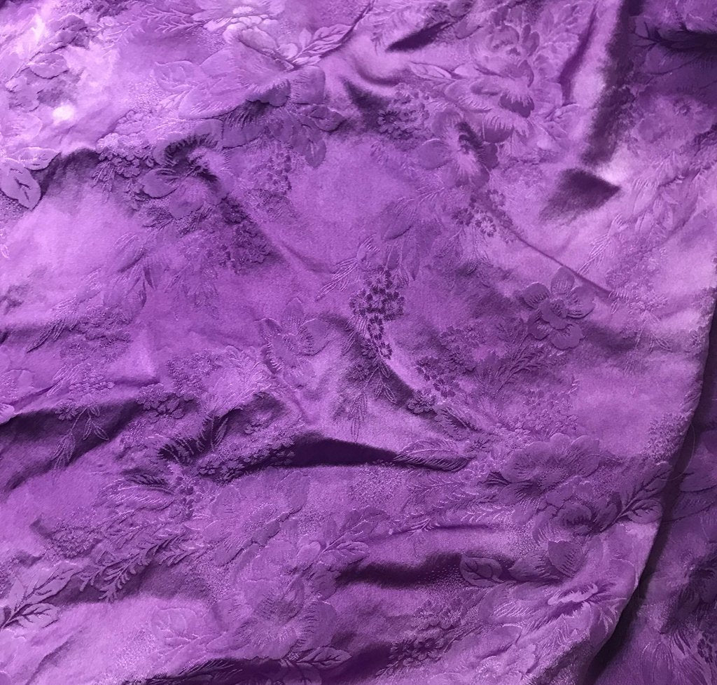 Purple Floral - Hand Dyed Silk Jacquard