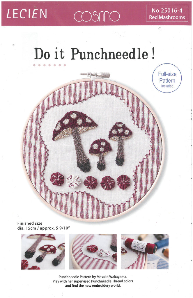 Red Mashrooms Punchneedle Pattern - Lecien Corporation