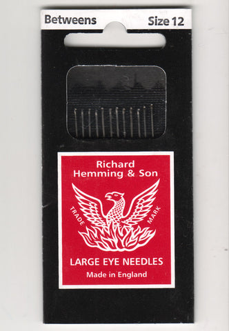Richard Hemming Needles - Betweens Size 12 - Made in England