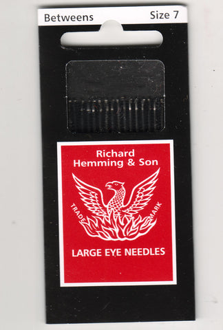 Richard Hemming Needles - Betweens Size 7 - Made in England