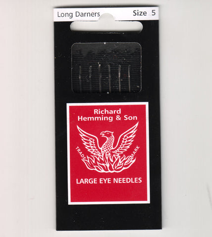Richard Hemming Needles - Long Darners Size 5 - Made in England