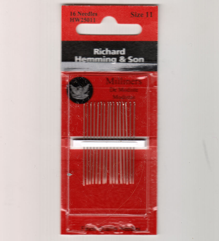 Richard Hemming Needles - Milliners Size 11 - Made in England