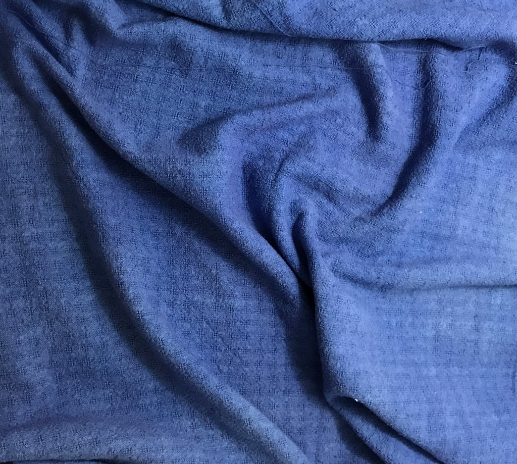 Royal Blue - Hand Dyed Checkered Weave Silk Noil 1/4 Yard x 54""