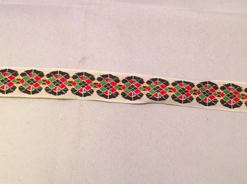 Vintage Jacquard Ribbon - Red & Green Geometric Circles