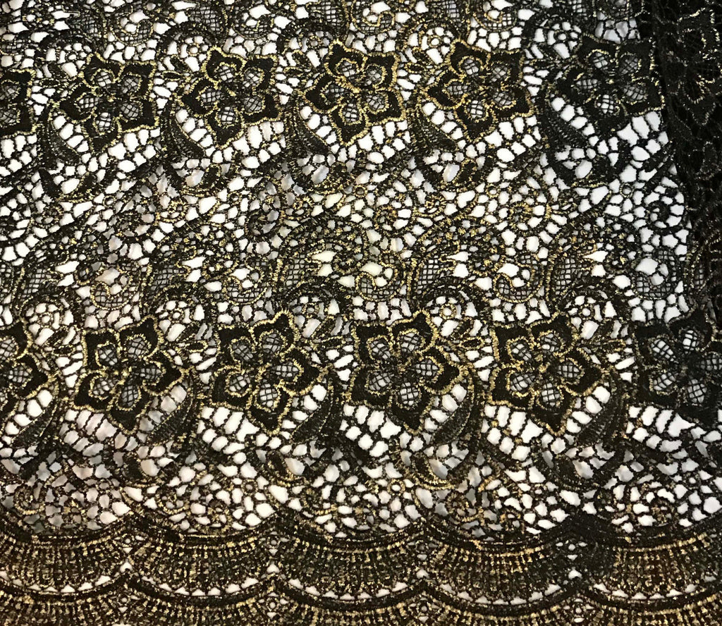 Black & Gold Floral Border Lace Fabric