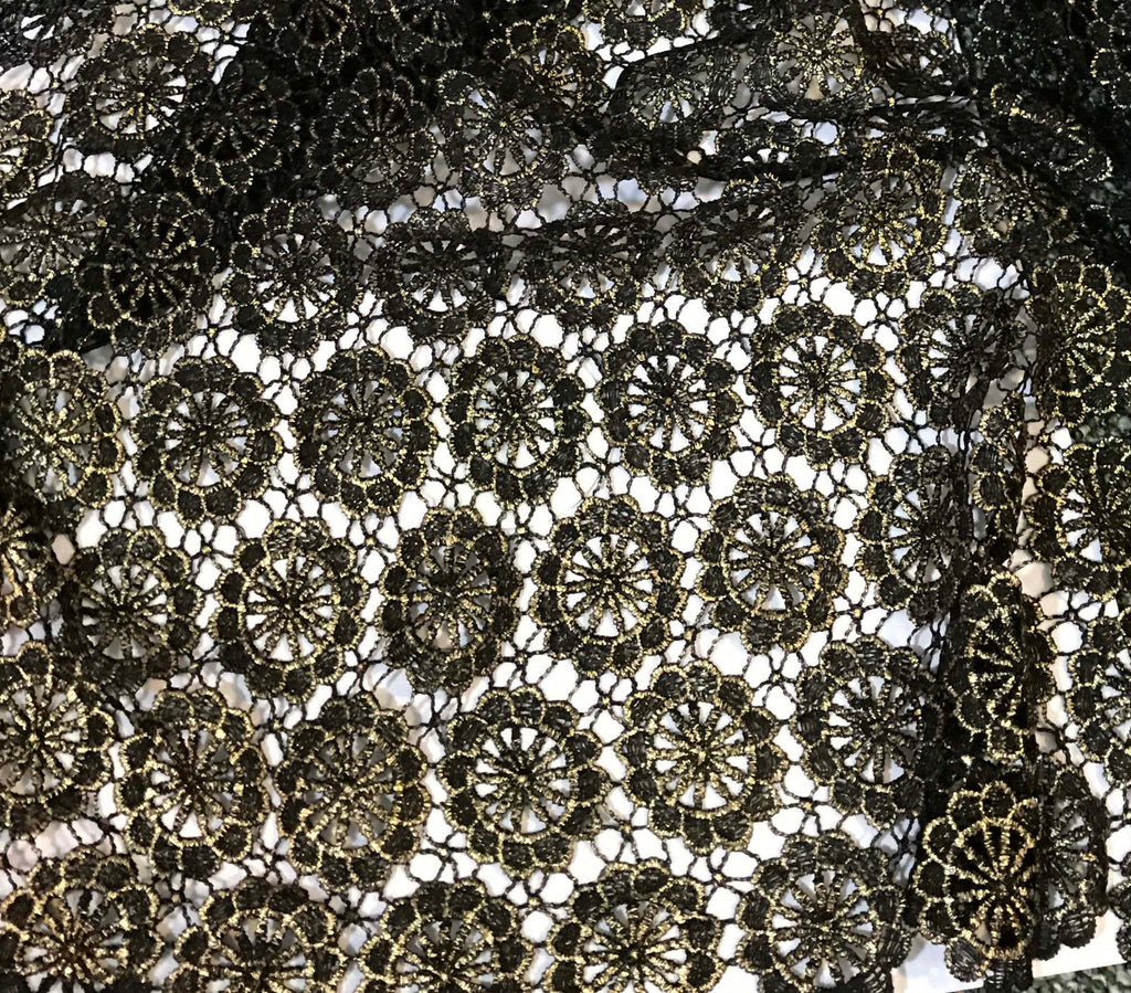 Black & Gold Floral Medallions Lace Fabric