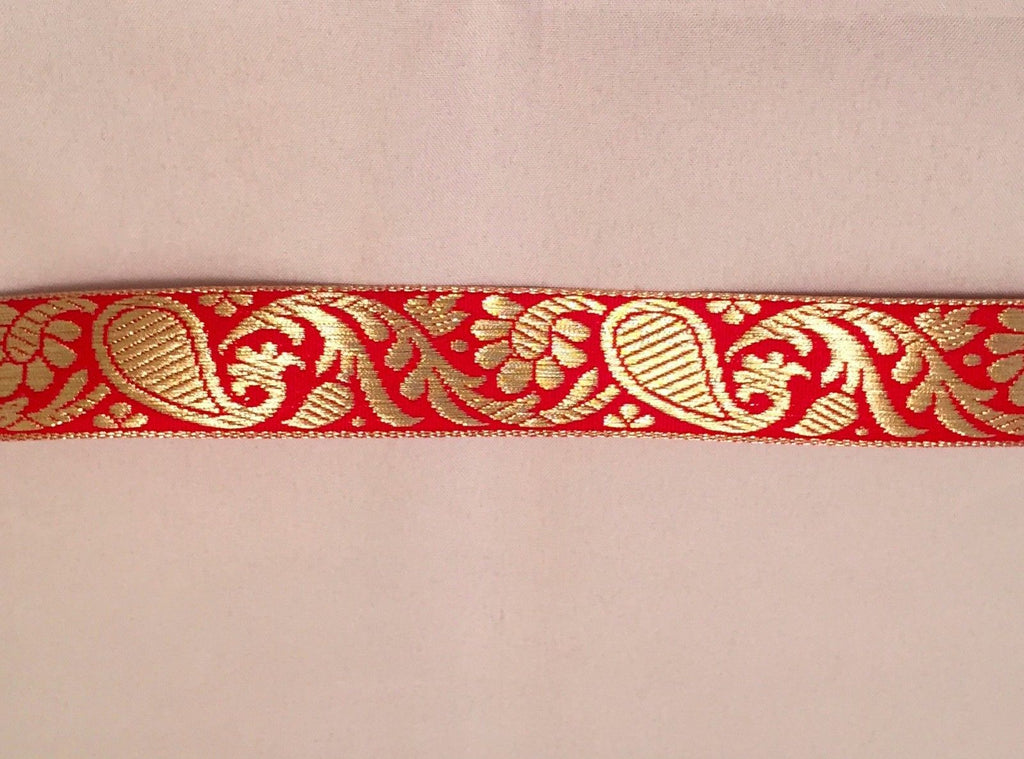 Vintage Jacquard Ribbon - Red & Metallic Gold Paisley