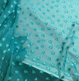 Turquoise Hearts - Polyester Chiffon Fabric