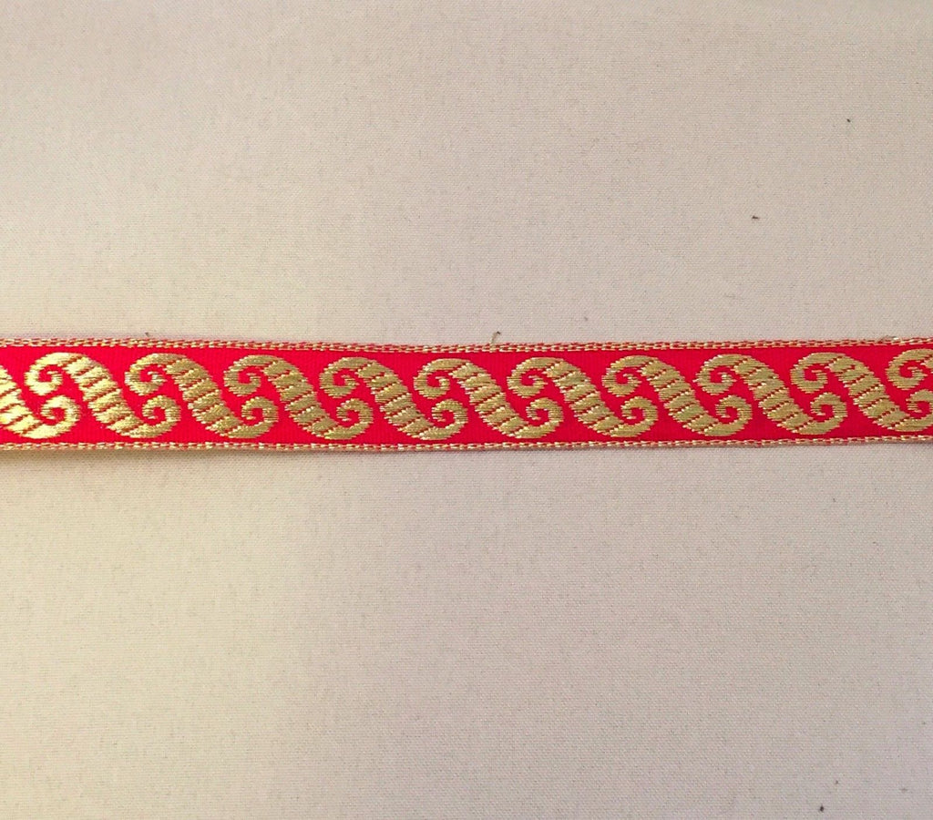Vintage Jacquard Ribbon - Red & Metallic Gold Scroll