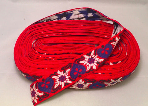 Vintage Jacquard Ribbon - Red Hearts & Flowers