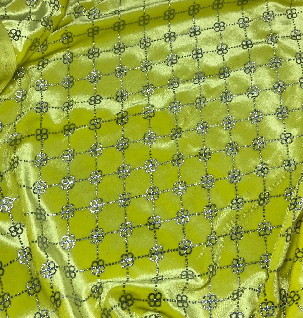 Yellow with Silver Glitter Floral Link - Stretch Polyester Velvet Fabric