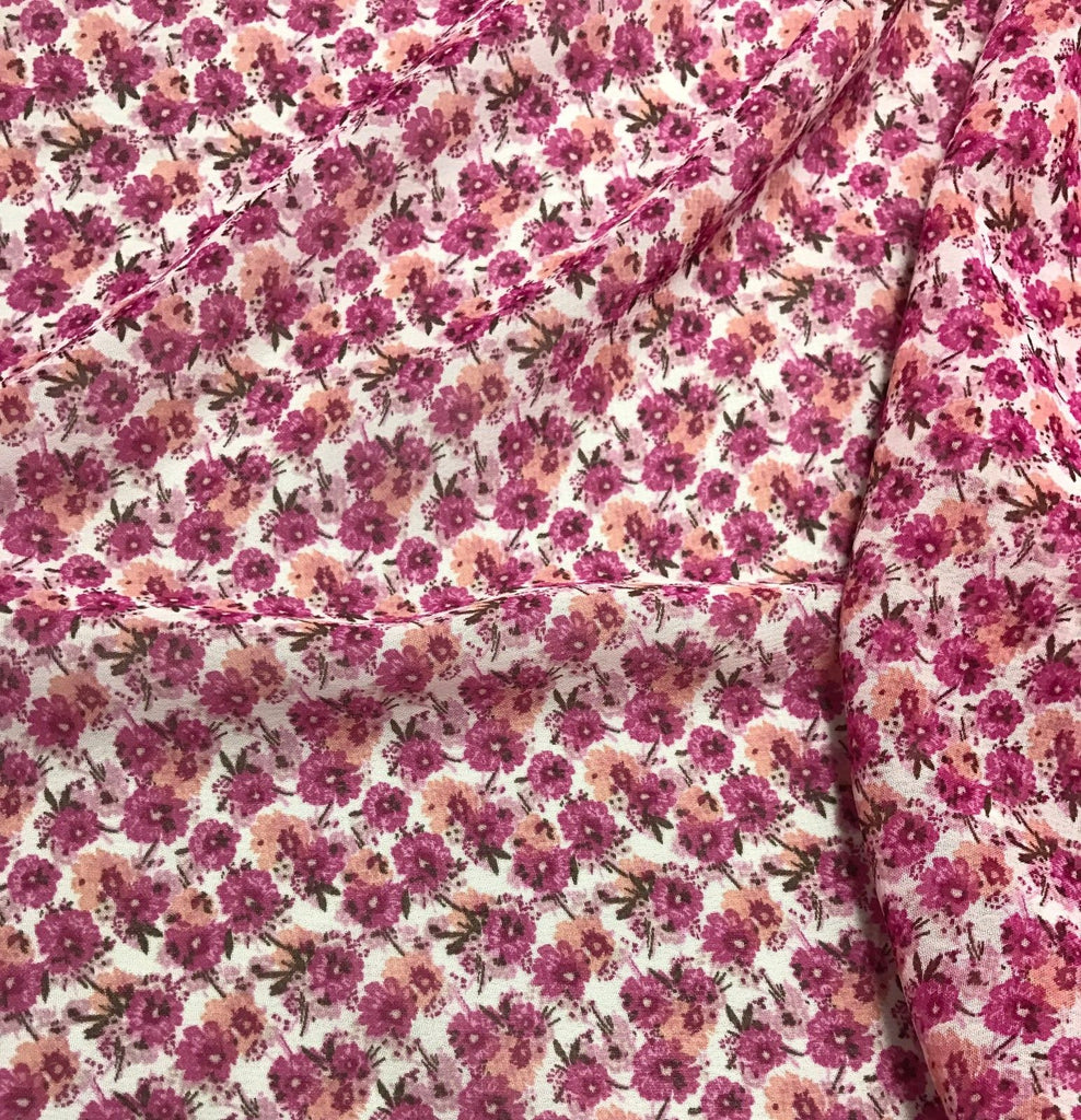 Pink Floral - Polyester Chiffon Fabric