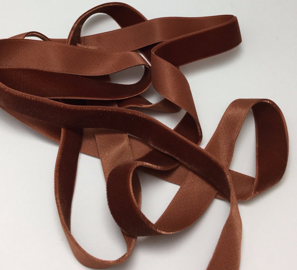 Vintage Rayon Satin Back Velvet Ribbon - Terra Cotta