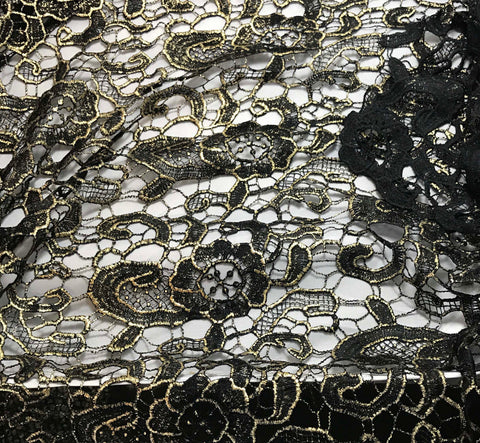 Black & Gold Flourish Floral Lace Fabric