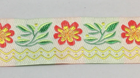 "French Jacquard Ribbon - Red & Yellow Flowers (1-5/8"" wide)"
