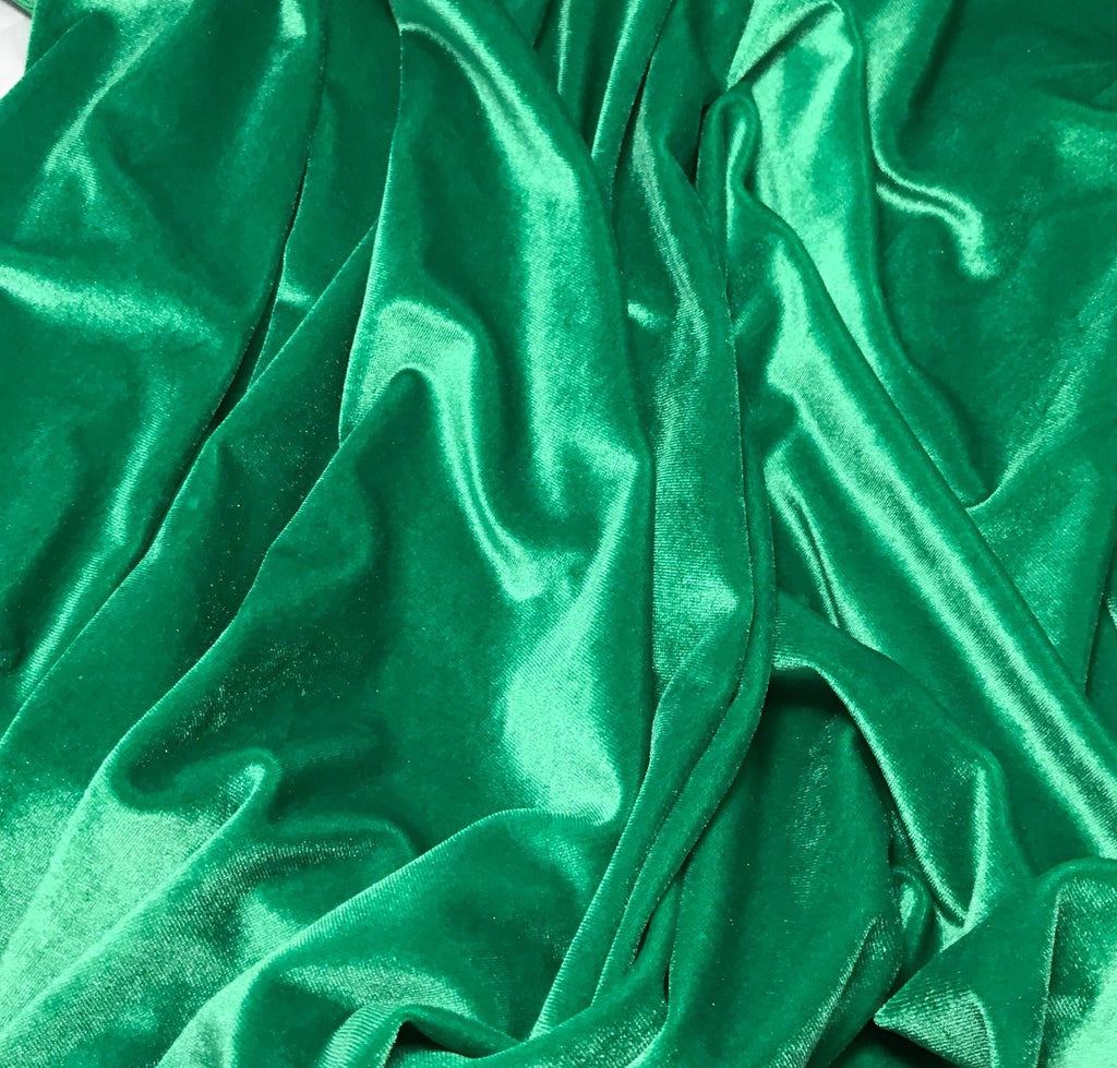 Kelly Green - Stretch Polyester Velvet Fabric