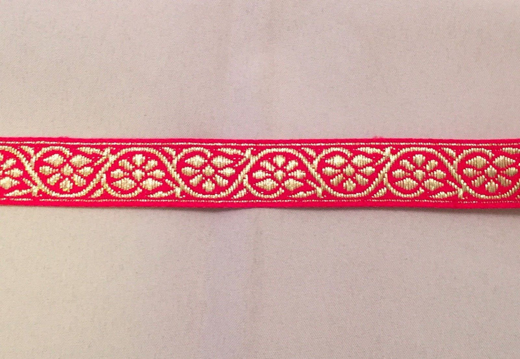 Vintage Jacquard Ribbon - Hot Pink & Metallic Gold Flowers