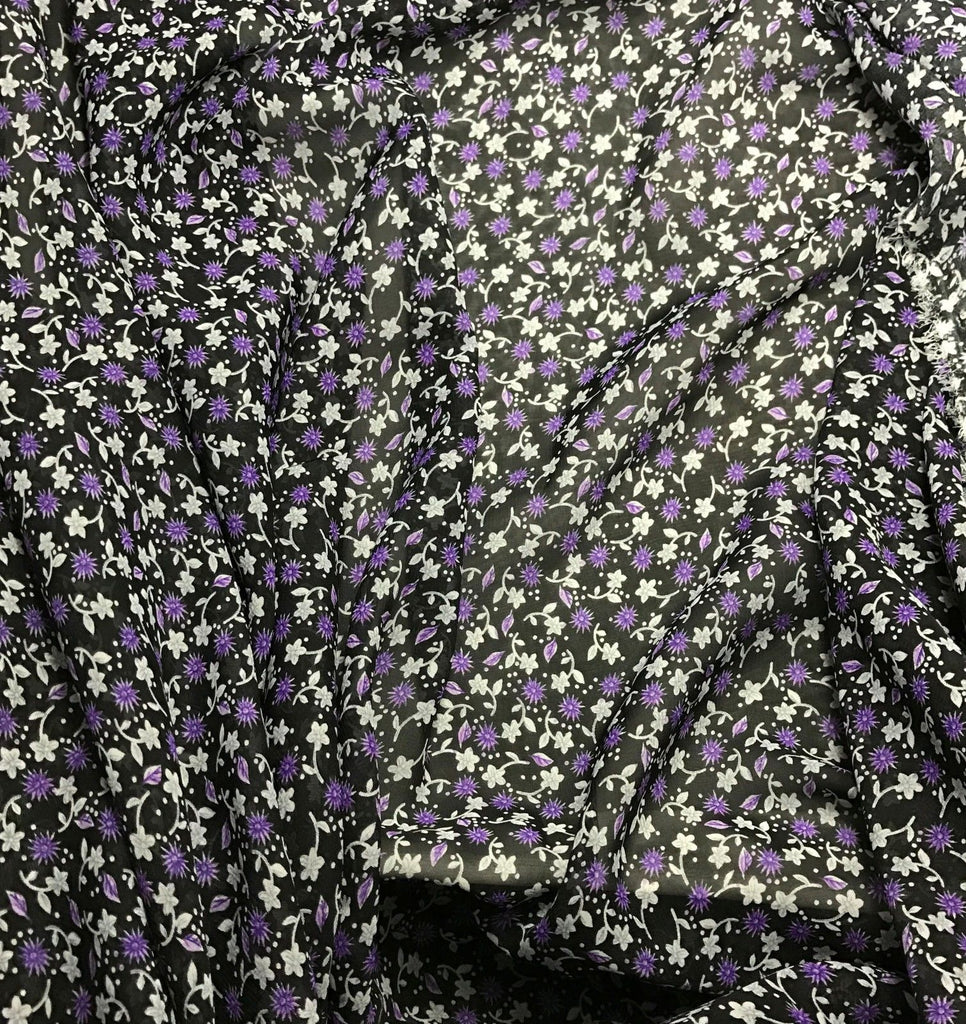 Purple & Black Floral - Polyester Chiffon Fabric