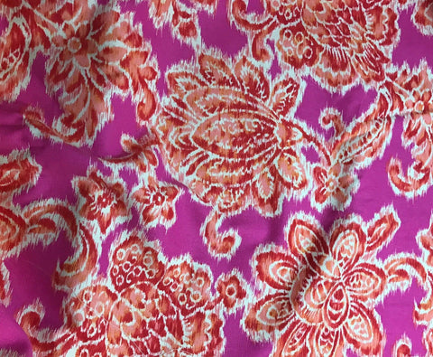 Cotton Lightweight Canvas - Pink & Orange Floral Ikat