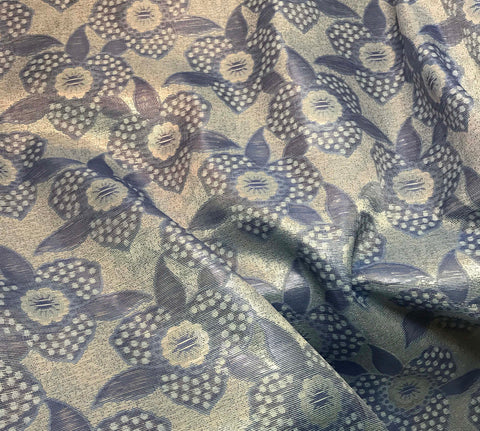 Silver & Blue Metallic Floral - Polyester Jacquard Fabric