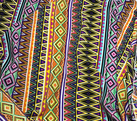 Aztec Chevron Stripe - Crepe de Chine Fabric