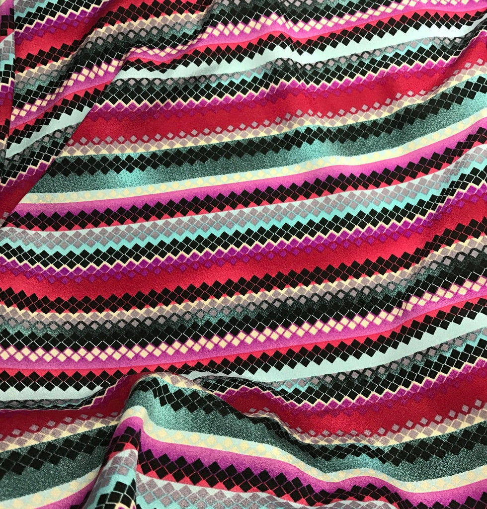 Pink & Turquoise Diamonds - Crepe de Chine Fabric