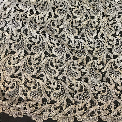 Ivory & Metallic Gold Feather Leaf Flourish Lace Fabric
