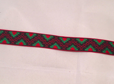 Vintage Jacquard Ribbon - Red & Green Geometric