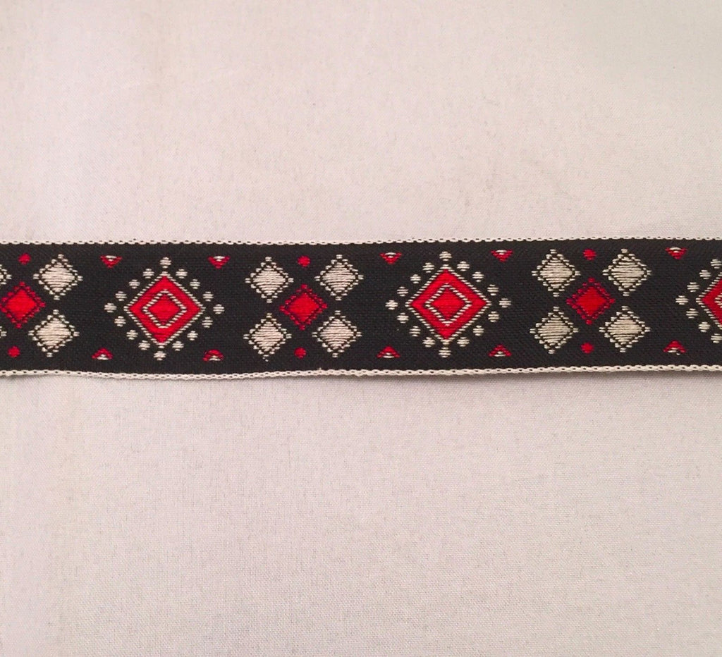 Vintage Jacquard Ribbon - Black Red & White Diamonds Geometric