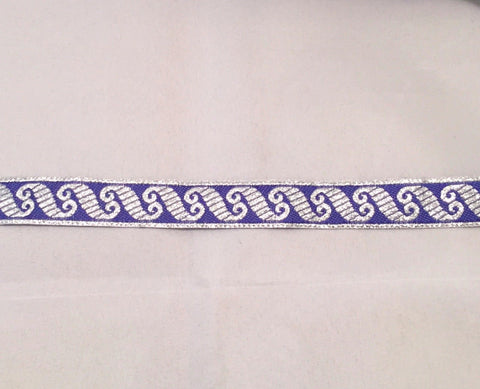 Vintage Jacquard Ribbon - Blue & Metallic Silver Scroll
