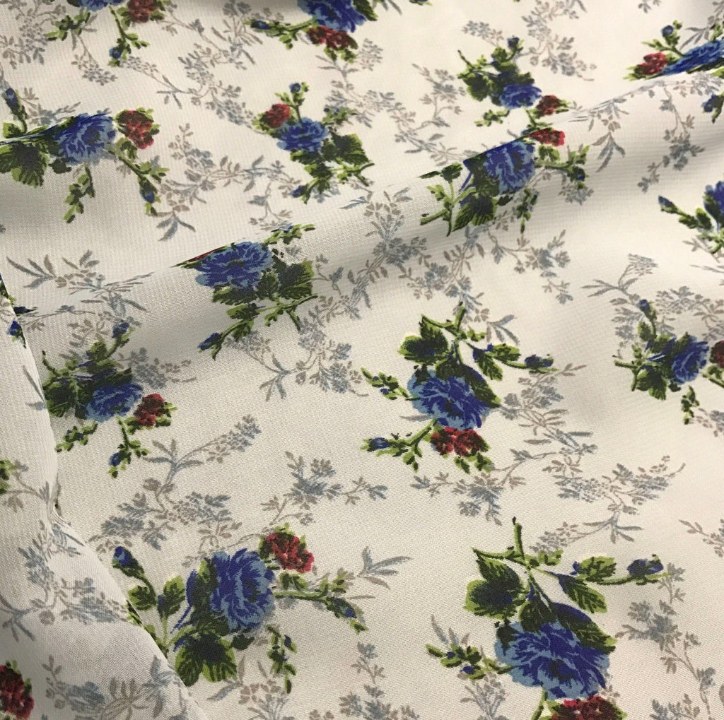 Blue Roses Floral - Polyester Chiffon Fabric