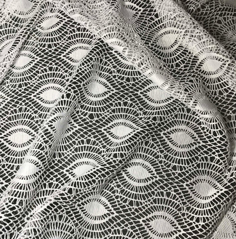 White - Feather Eye Crochet Lace Fabric