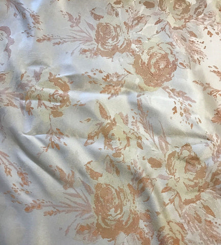 Peach & White Roses Floral - Faux Silk Brocade