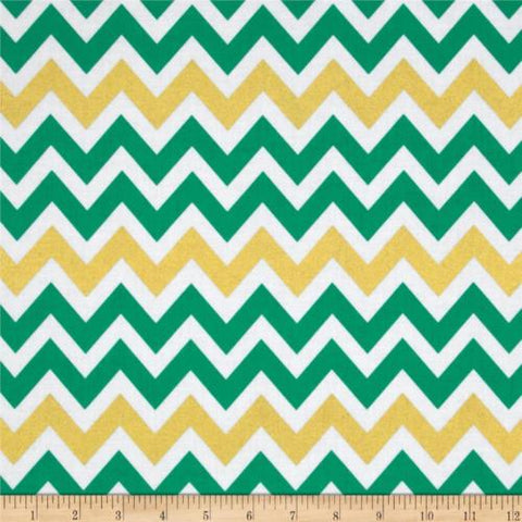 Robert Kaufman - Remix Metallic Large Chevron Kale - Cotton Quilting Fabric