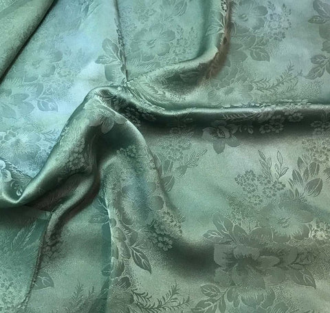 Sage Green Floral - Hand Dyed Silk Jacquard
