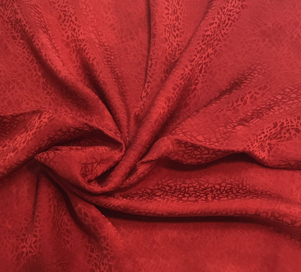 Scarlet Red Pebbles - Hand Dyed Silk Jacquard