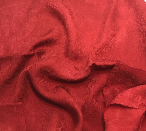 Scarlet Red Paisley - Hand Dyed Silk Jacquard