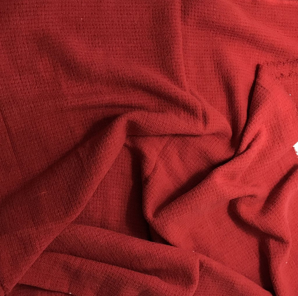 Scarlet Red - Hand Dyed Squares Weave Silk Noil