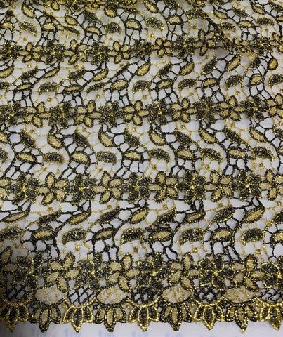 Black & Gold Flowers and Leaves - Schiffli Lace Fabric