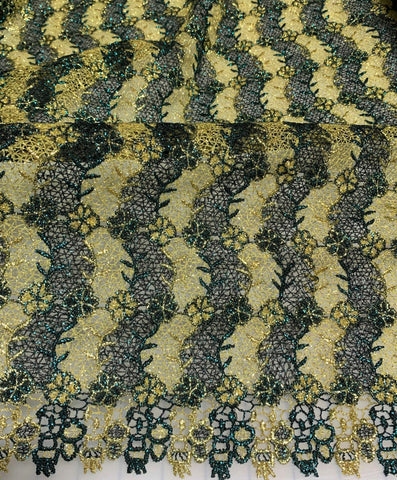 Green & Gold Floral Waves - Schiffli Lace Fabric