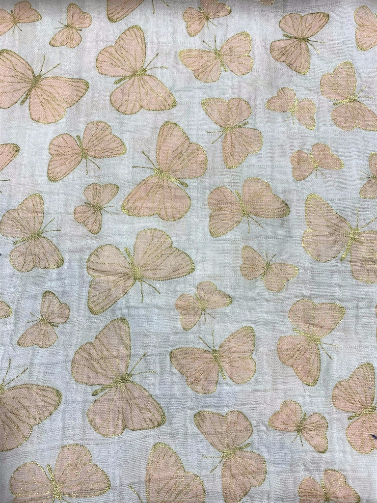 Metallic Gold & Pink Butterflies on White - Shannon Embrace - Cotton Double Gauze Fabric