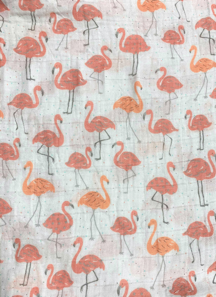 Pink & Coral Flamingos on White - Shannon Embrace - Cotton Double Gauze Fabric