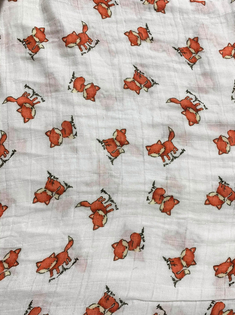 Red Foxes on White - Shannon Embrace - Cotton Double Gauze Fabric